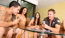 Kinky guys are playing cards with amorous luscious females before enforcement 'em vulgar