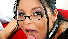 black-haired ribald professor as a lollipop BDSM sex victim