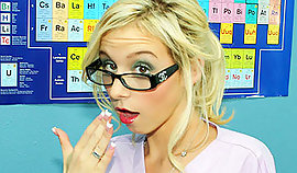 Spicy schoolgirl on a chemistry lesson
